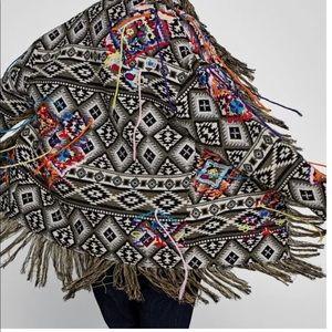 ZARA Ikat embroidered Jacquard Jacket